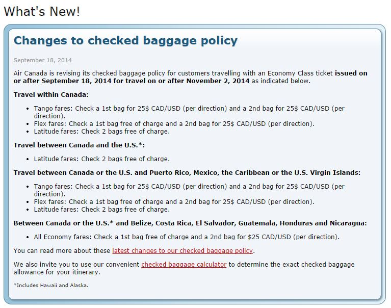 TravelBloggers.ca, Air Canada Baggage prices