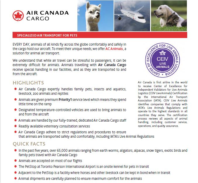 Air Canada Cargo Live Animals, TravelBloggers.ca, @Travelbloggerz
