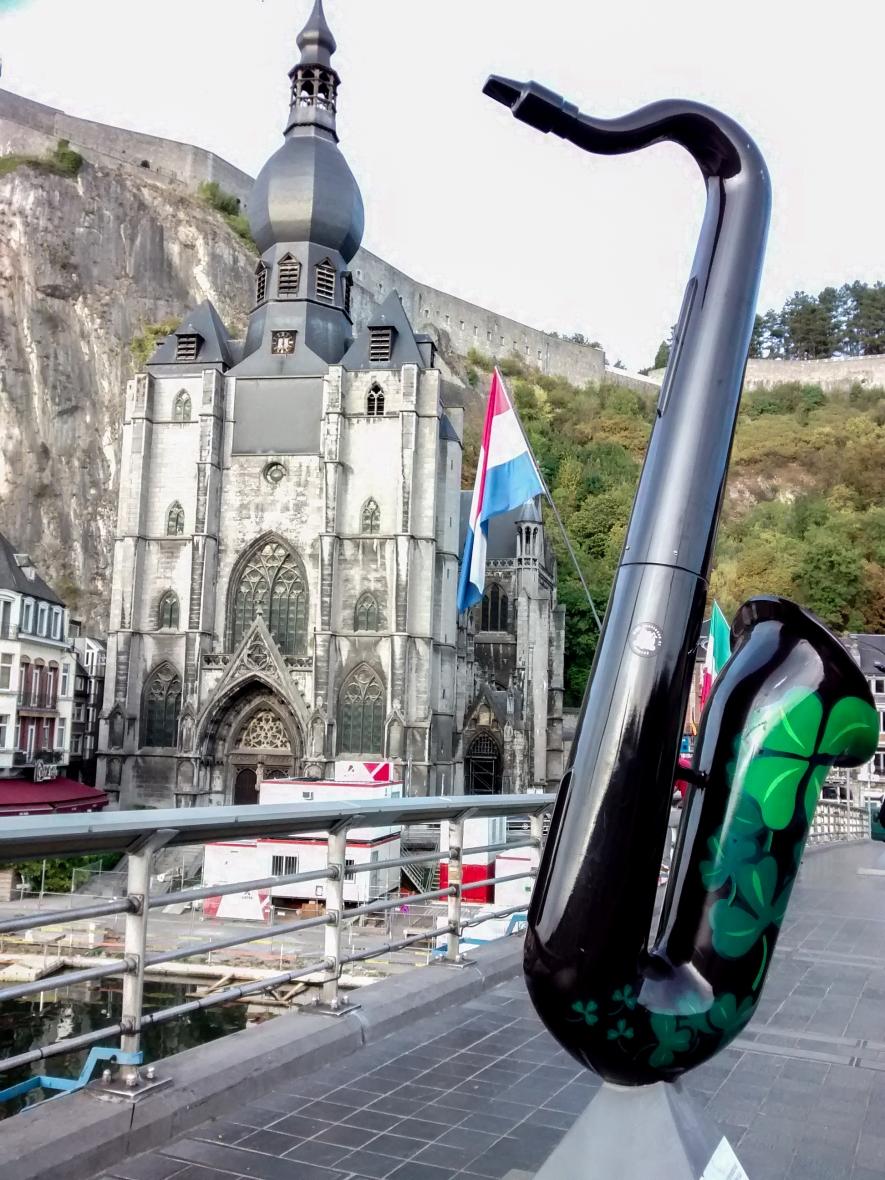 Charles DeGaulle Bridge, Collegiale Notre-Dame - Dinant Belgium